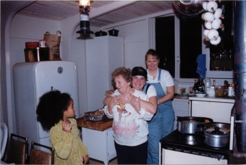 In the kitchen at the cabin during the holidays.